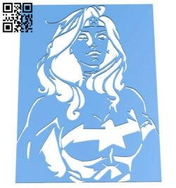 Wonder woman stencil B007995 file stl free download 3D Model for CNC and 3d printer