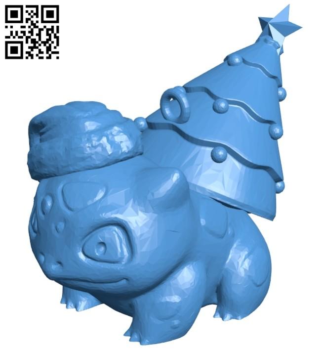 Xmas bulbasaur hat - pokemon B007947 file stl free download 3D Model for CNC and 3d printer