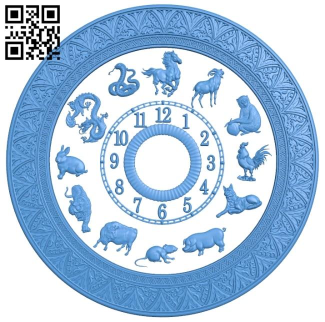 12 zodiac clock A005263 download free stl files 3d model for CNC wood carving