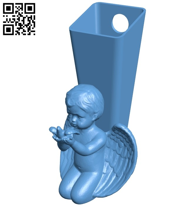 Angel wall vase B008243 file stl free download 3D Model for CNC and 3d printer
