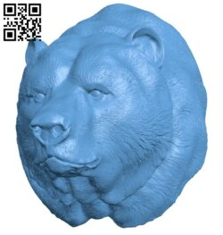 Bear head B008187 file stl free download 3D Model for CNC and 3d printer