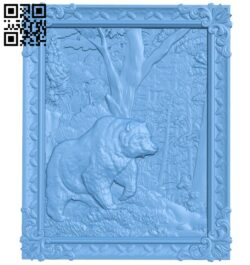 Bear painting in the forest A005407 download free stl files 3d model for CNC wood carving