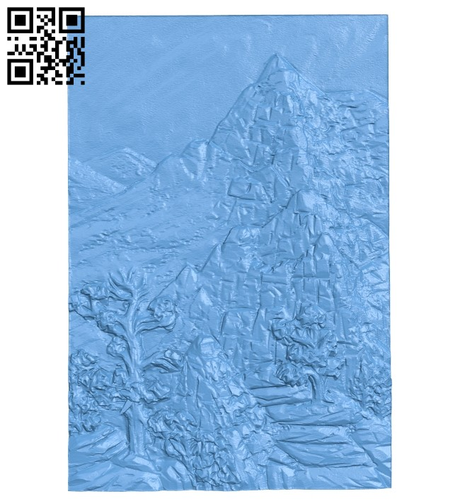 Everest mountain top painting A005429 download free stl files 3d model for CNC wood carving