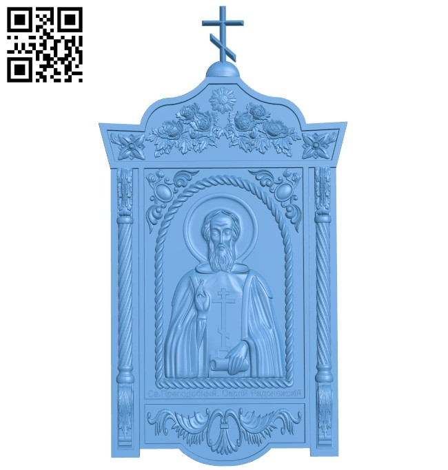 Icon Sergius of Radonezh A005320 download free stl files 3d model for CNC wood carving