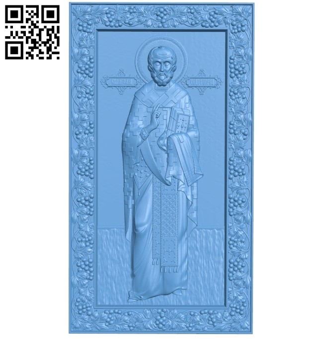 Icon of Nicholas the Wonderworker (full-length) A005321 download free stl files 3d model for CNC wood carving