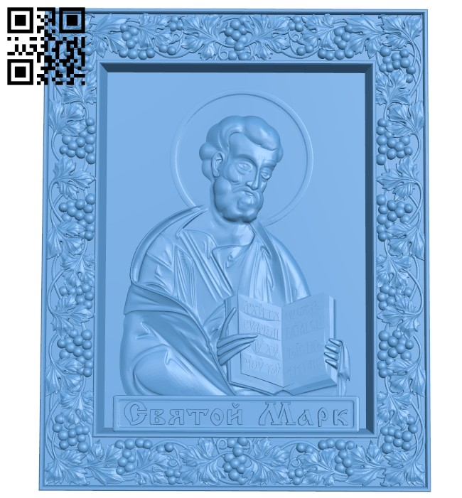 Icon of St. Mark A005399 download free stl files 3d model for CNC wood carving