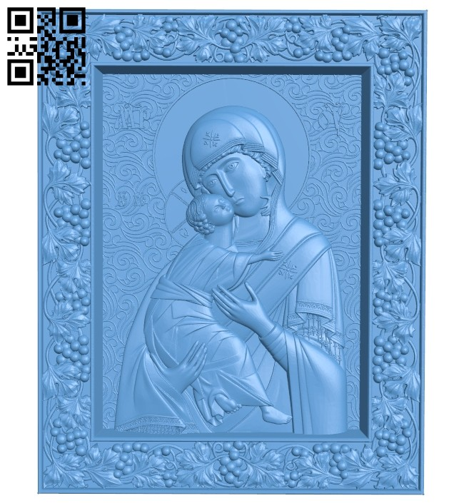 Icon of the Vladimir Mother of God A005322 download free stl files 3d model for CNC wood carving