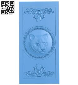 Leopard-shaped door pattern A005270 download free stl files 3d model for CNC wood carving