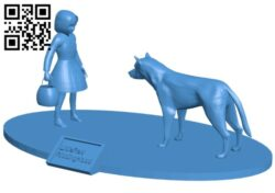 Little Red Riding Hood and the Wolf B008069 file stl free download 3D Model for CNC and 3d printer