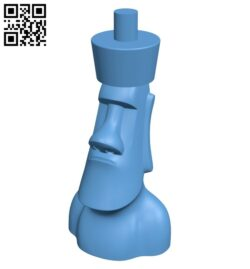 Moai chess – moai king B008152 file stl free download 3D Model for CNC and 3d printer