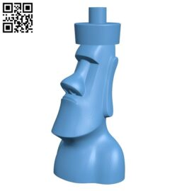 Moai chess – moai queen B008155 file stl free download 3D Model for CNC and 3d printer