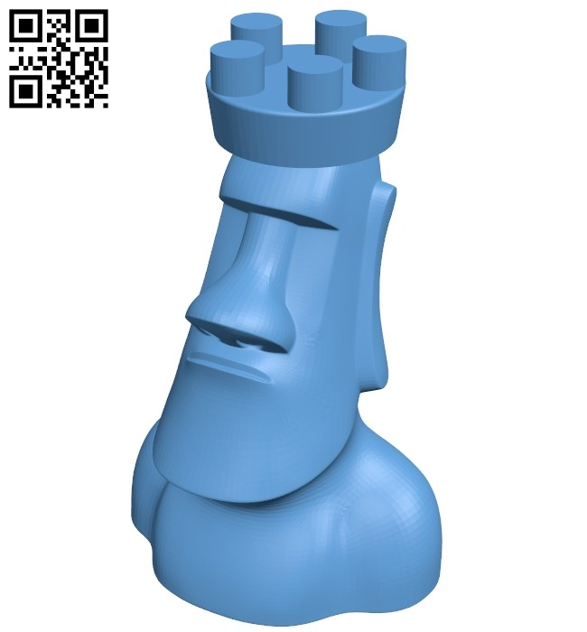 Moai chess - moai rook B008156 file stl free download 3D Model for CNC and 3d printer