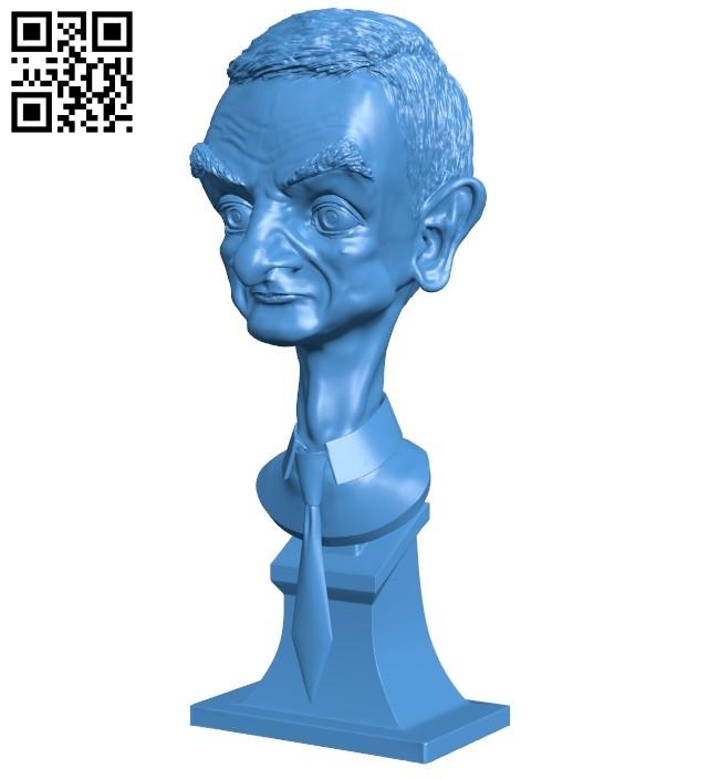 Mr Bean bust B008067 file stl free download 3D Model for CNC and 3d printer