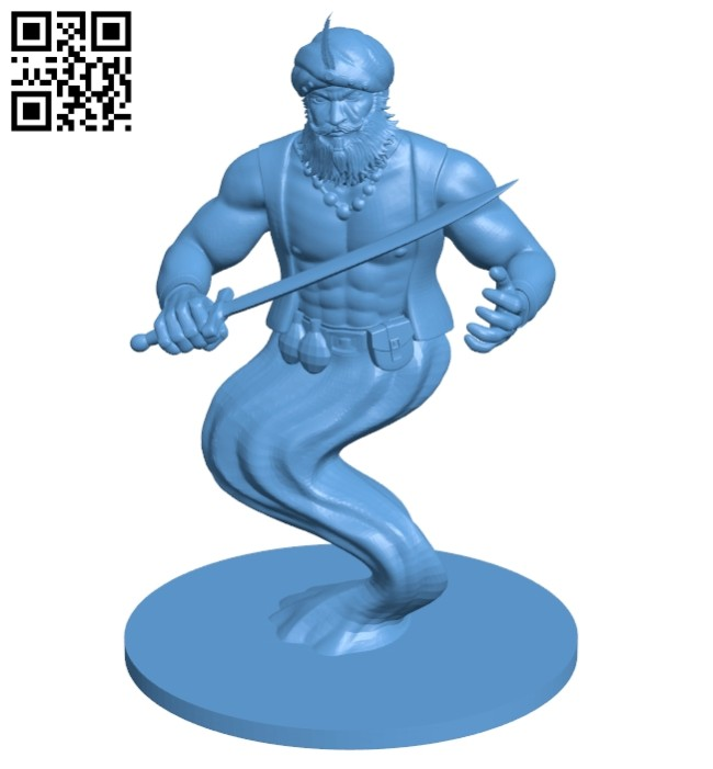 Mr Djinni with a sword B008309 file stl free download 3D Model for CNC and 3d printer