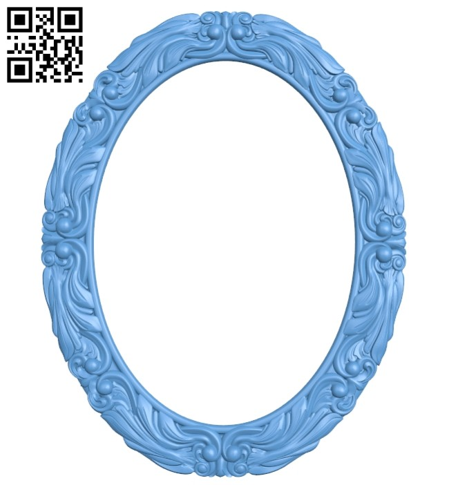 Picture frame or mirror oval A005401 download free stl files 3d model for CNC wood carving