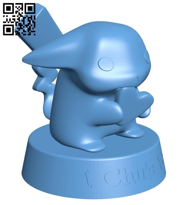 Pikachu - pokemon B008304 file stl free download 3D Model for CNC and 3d printer