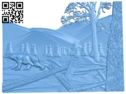 Polar bear painting A005408 download free stl files 3d model for CNC wood carving