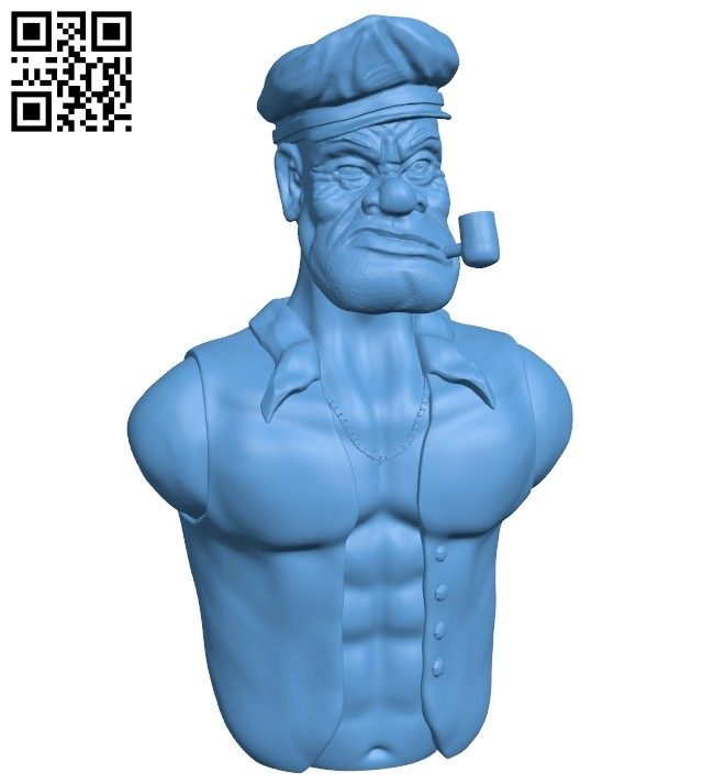 Popaj bust B008268 file stl free download 3D Model for CNC and 3d printer
