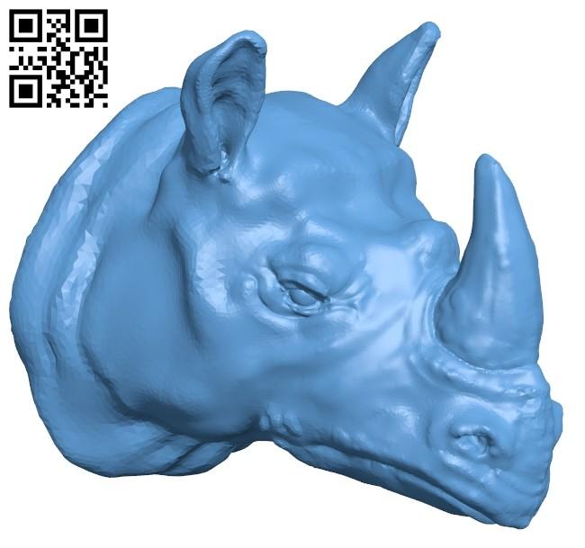 Rhino head B008315 file stl free download 3D Model for CNC and 3d printer