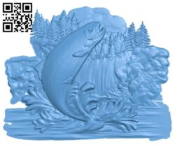 Salmon painting A005328 download free stl files 3d model for CNC wood carving