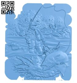 The painting of salmon fisherman A005339 download free stl files 3d model for CNC wood carving