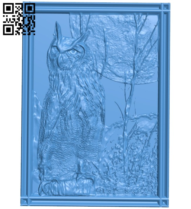The picture of a owl A005267 download free stl files 3d model for CNC wood carving