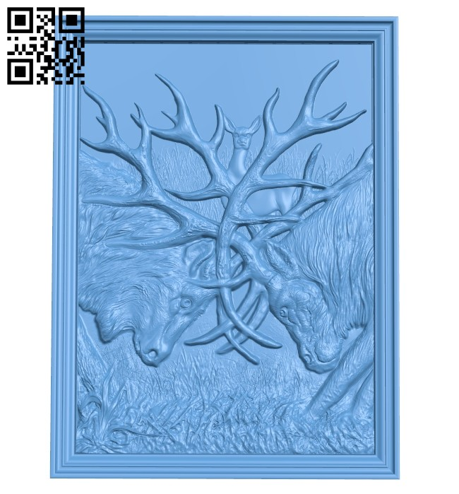 Two deer fight A005329 download free stl files 3d model for CNC wood carving