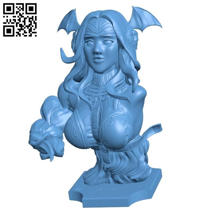 Woman bat bust B008325 file stl free download 3D Model for CNC and 3d printer