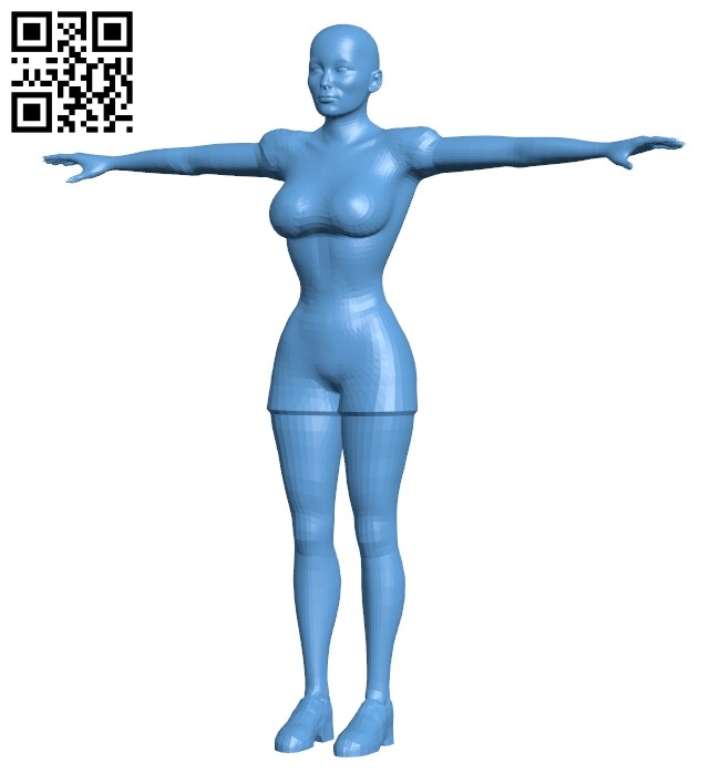 Women bald fashionista B008184 file stl free download 3D Model for CNC and 3d printer