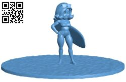 Women cartoon surfer B008197 file stl free download 3D Model for CNC and 3d printer