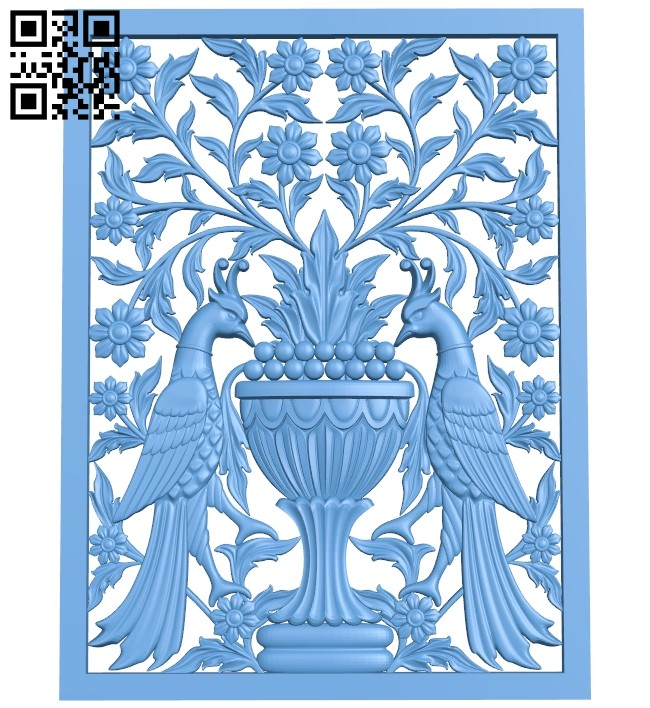 A picture of two birds A005587 download free stl files 3d model for CNC wood carving