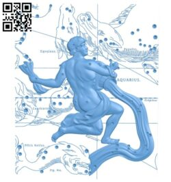 Aquarius painting – 12 signs of the zodiac A005513 download free stl files 3d model for CNC wood carving