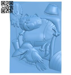 Contains pictures of fat cat and crow A005588 download free stl files 3d model for CNC wood carving