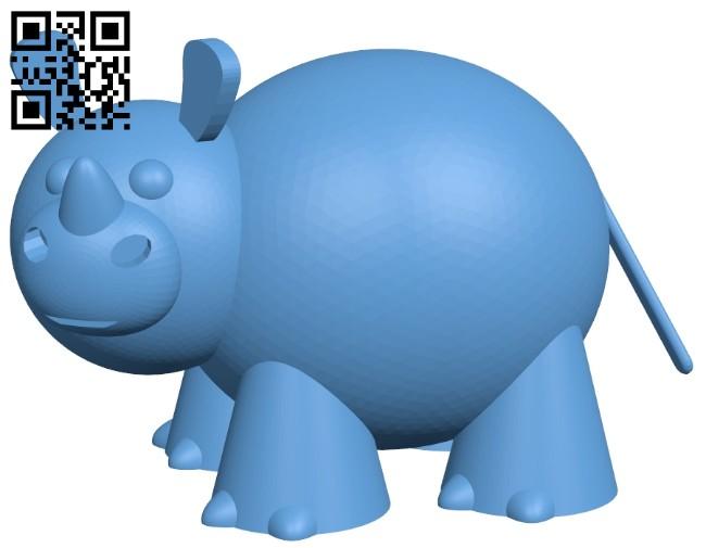 Cute rhino B008447 file stl free download 3D Model for CNC and 3d printer