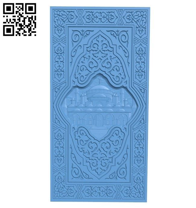 Door pattern - temple of the muslim A005448 download free stl files 3d model for CNC wood carving
