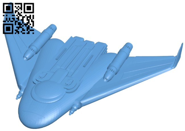 Flying wing - ship B008460 file stl free download 3D Model for CNC and 3d printer