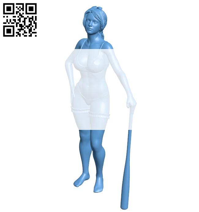 Girl hitting baseball B008347 file stl free download 3D Model for CNC and 3d printer