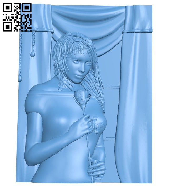 Girl painting holding roses A005471 download free stl files 3d model for CNC wood carving