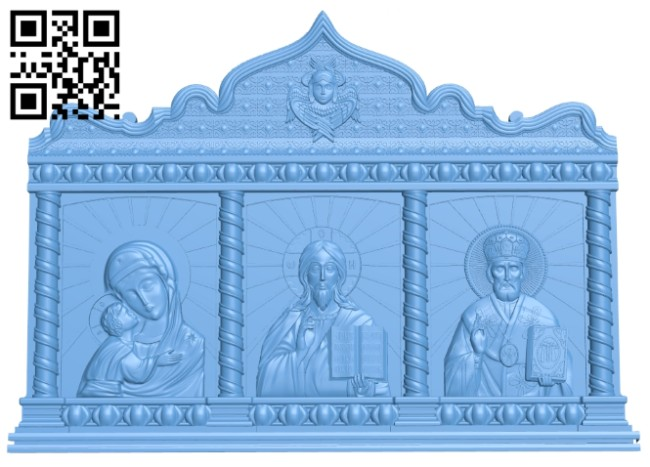 Icon Triptych A005447 download free stl files 3d model for CNC wood carving