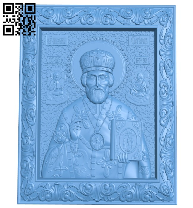 Icon of St. Nicholas the Wonderworker A005609 download free stl files 3d model for CNC wood carving
