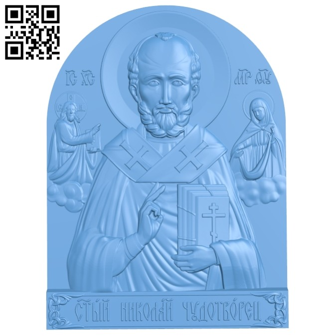 Icon of St. Nicholas the Wonderworker A005624 download free stl files 3d model for CNC wood carving