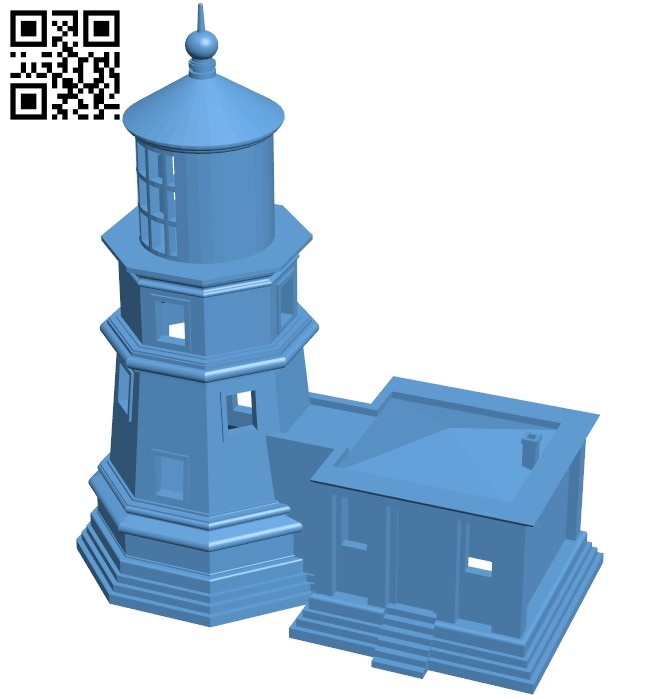 Lighthouse - house B008528 file stl free download 3D Model for CNC and 3d printer