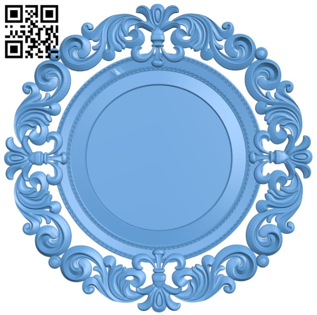 Picture round frame or mirror A005441 download free stl files 3d model for CNC wood carving