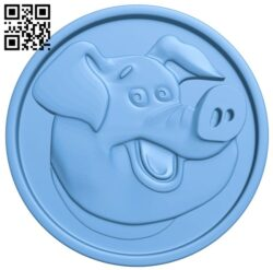 Pig face coin A005665 download free stl files 3d model for CNC wood carving