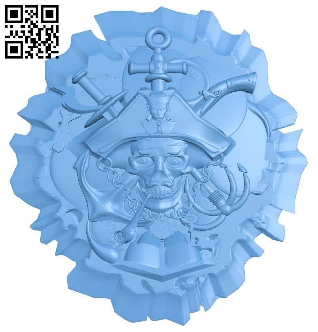 Pirate icon A005596 download free stl files 3d model for CNC wood carving