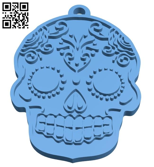 Skull-shaped pendant B008534 file stl free download 3D Model for CNC and 3d printer