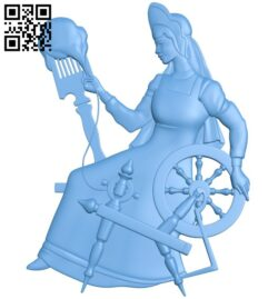 The girl is spinning A005669 download free stl files 3d model for CNC wood carving