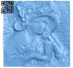 The girl sat drinking water A005468 download free stl files 3d model for CNC wood carving
