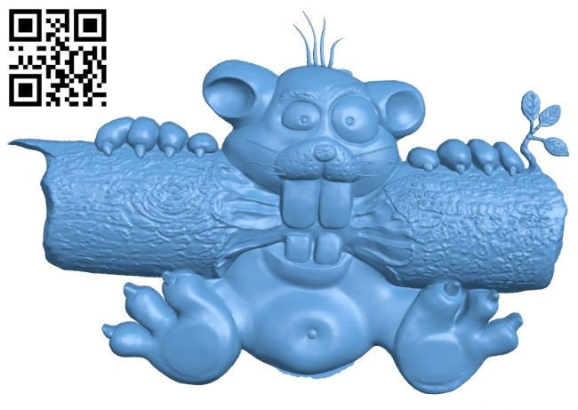 The picture of a beaver A005595 download free stl files 3d model for CNC wood carving