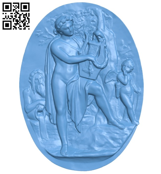 The picture of the lyre player A005592 download free stl files 3d model for CNC wood carving